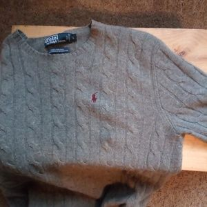 Polo Ralph Lauren Grey Wool Cable Knit Sweater